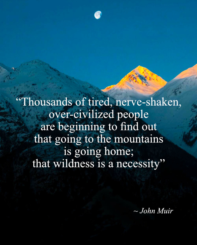 """""""Thousands of tired, nerve-shaken, over-civilized people are beginning to find out that going to the mountains is going home; that wildness is a necessity."""" John Muir"""