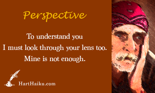 Perspective | To understand you I must look through your lens too. Mine is not enough. | HartHaiku.com
