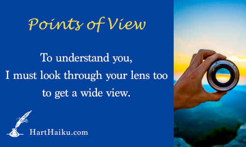 Points of View | To understand you, I must look through your lens too to get a wide view. | HartHaiku.com