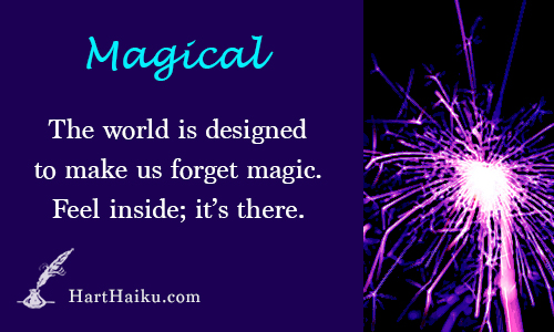 Magical | The world is designed to make us forget magic. Feel inside; it's there. | HartHaiku.com