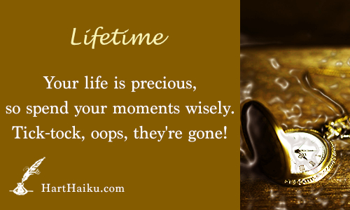 Lifetime | Your life is precious, so spend your moments wisely. Tick-tock, tick-tock, oops they're gone! | HartHaiku.com