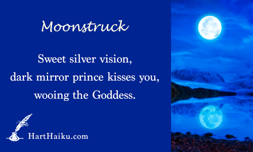 Moonstruck | Sweet silver vision, dark mirror prince kisses you, wooing the Goddess. | HartHaiku.com