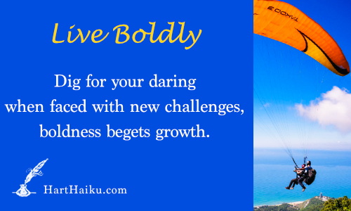 Live Boldly | Dig for your daring when faced with new challenges, daring begets growth. | HartHaiku.com
