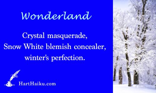 Wonderland | Crystal masquerade, Snow White blemish concealer, winter's perfection. | HartHaiku.com